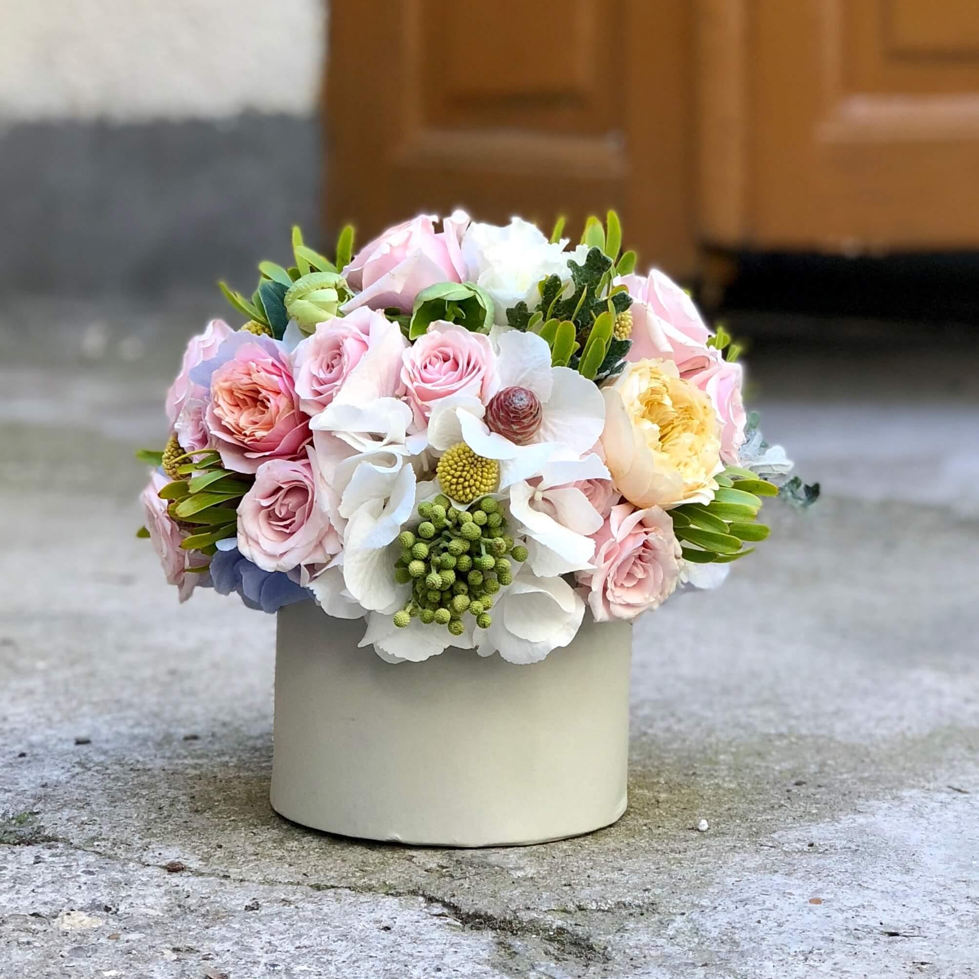 Aranjament Floral In Cutie Cu Hortensia Alba Imodflowers
